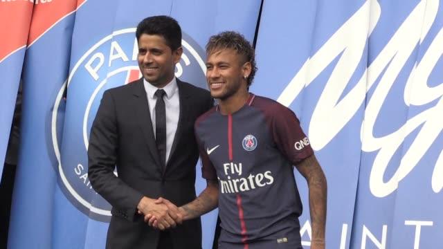 brazilian superstar neymar is officially presented as paris saint germain's new striker after agreeing a five year deal on a world record 222 million... - neymar da silva stock-videos und b-roll-filmmaterial