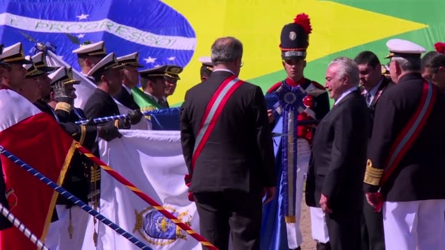 vídeos de stock e filmes b-roll de brazilian temer took part in a commemoration of a 1865 naval battle on friday flanked by allies as the superior electoral court ruled on the legality... - 1865