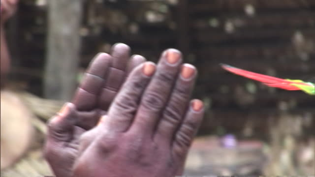 vídeos de stock, filmes e b-roll de a brazilian tribesman participates in a fire ant ritual. - colar