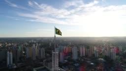 Brazilian Waving Flag at Skyline of Goiânia, Goiás