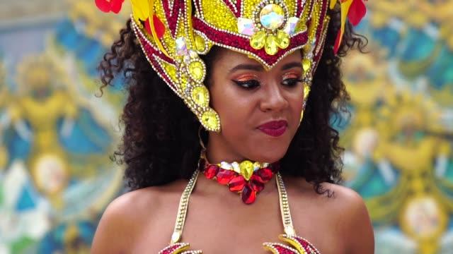 Brazilian woman dancing samba for the famous carnival parade