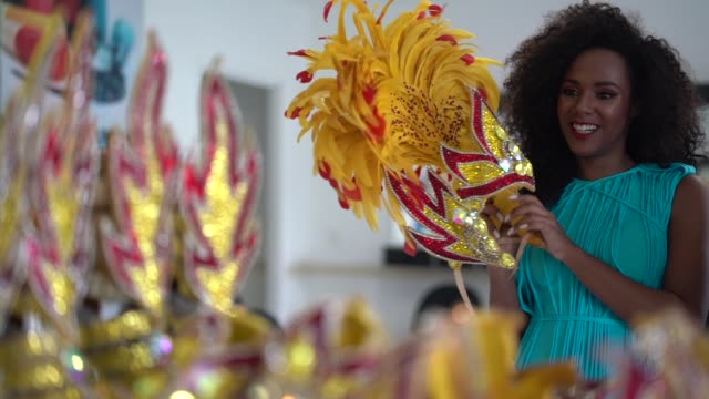 brazilian woman getting ready for carnaval - school fete stock videos and b-roll footage