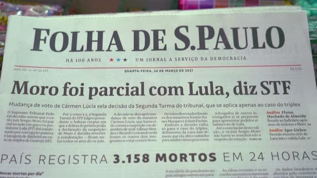 "brazilians react after the supreme court ruled that judge sergio moro was ""biased"" in convicting ex-president luiz inacio lula da silva of corruption... - brazilian ethnicity stock videos & royalty-free footage"