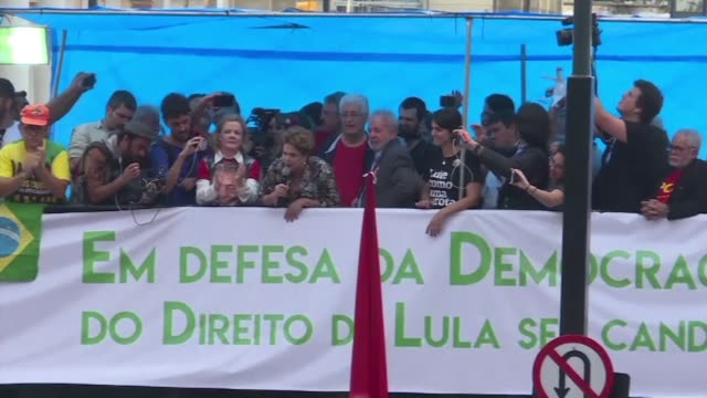 Brazil's ex presidents Dilma Rousseff and Lula participated Tuesday in a demonstration in Porto Alegre on the eve of a court decision crucial for...