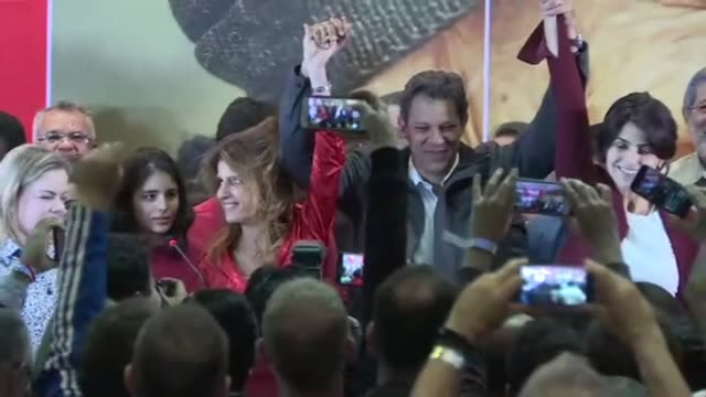 brazil's leftist candidate fernando haddad addresses supporters after exit polls suggested that polarizing far-right politician jair bolsonaro would... - runoff election stock videos & royalty-free footage