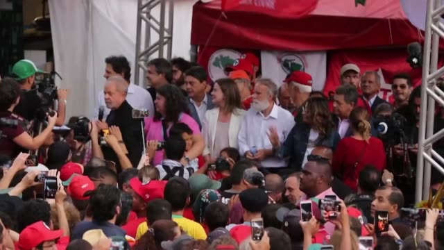 brazils leftist icon luiz inacio lula da silva vows to continue to fight for ordinary brazilians moments after he walked free from jail following a... - prisoner icon stock videos & royalty-free footage