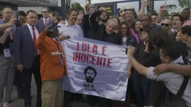 brazils leftist icon luiz inacio lula da silva walks free from jail after a year and a half behind bars for corruption following a court ruling that... - prison icon stock videos & royalty-free footage