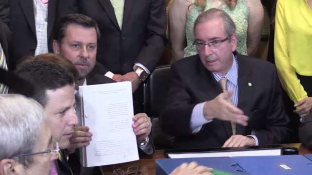 brazils opposition files a new impeachment petition against president dilma rousseff accusing her of illegal accounting practices - petition stock videos & royalty-free footage