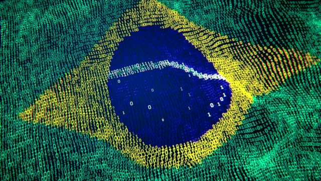 brazıl flag particle digital flag loopable 4k - brazil stock videos & royalty-free footage