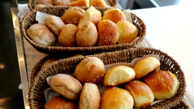 bread and buns in baskets - loaf of bread stock videos and b-roll footage