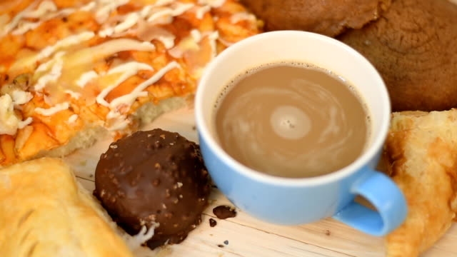 bread and coffee - wood grain stock videos & royalty-free footage