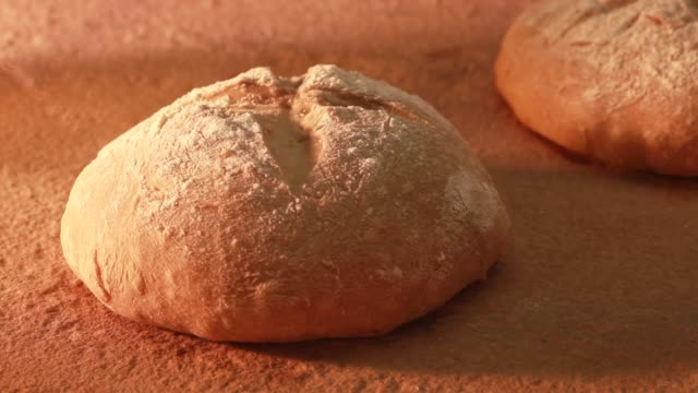 Bread baking in a wood-fired oven