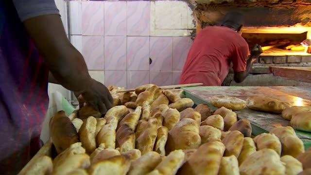 Bread being baked in bakery in Khartoum Sudan