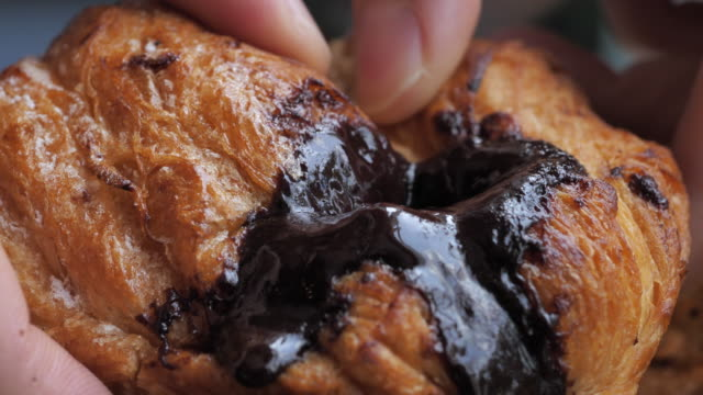 bread filled with chocolate - french food stock videos & royalty-free footage