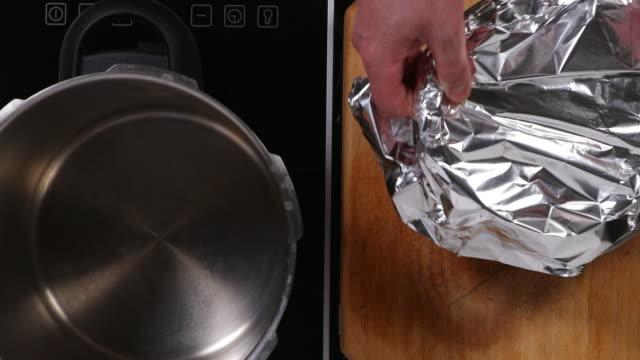 Bread pudding preparation in pressure cooker.
