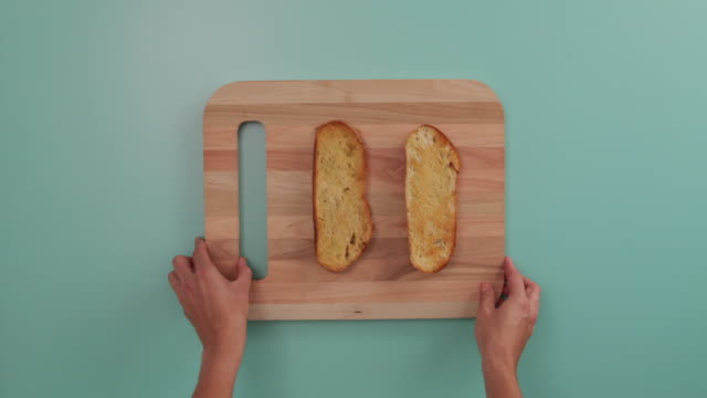 bread toast in a wood plate - peasant bread stock videos and b-roll footage