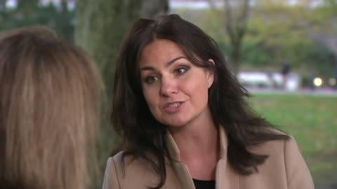 trussell trust study finds that many food bank users are destitute; england: london: westminster: ext heidi allen mp interview sot - she didn't... - northampton stock-videos und b-roll-filmmaterial