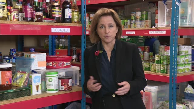 trussell trust study finds that many food bank users are destitute england reporter to camera elizabeth maytom interview sot various shots woman... - jackie long stock videos & royalty-free footage