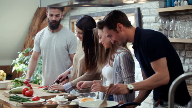 breakfast after party night - cucina domestica video stock e b–roll