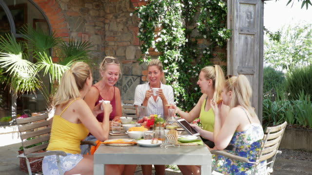 breakfast before exploring italy - villa stock videos & royalty-free footage