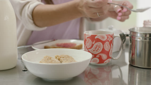 breakfast cereal with sugar - sugar food stock videos and b-roll footage