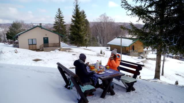 breakfast on amazing winter landscape - raw food diet stock videos & royalty-free footage
