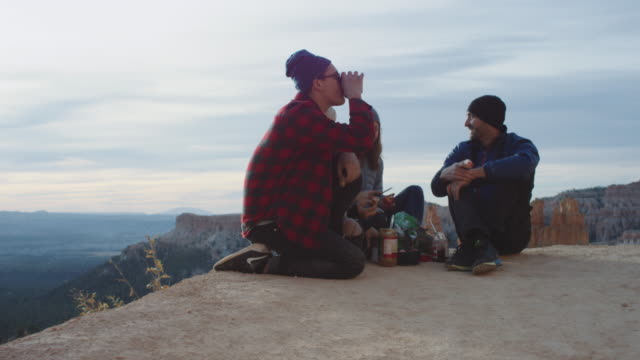 4k uhd: breakfast on the edge of a canyon - utah stock videos & royalty-free footage