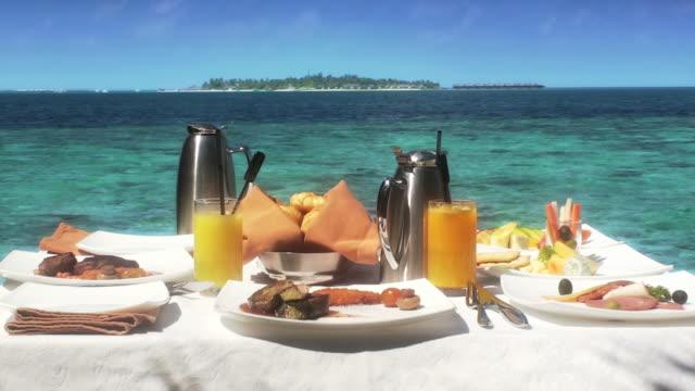 breakfast on the sea - indian ocean stock videos & royalty-free footage