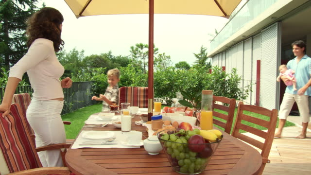 hd dolly: breakfast on the terrace - gourmet french food stock videos & royalty-free footage