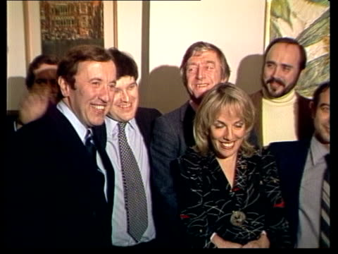 tvam launch england london knightsbridge ms all pose including david frost esther rantzen and michael parkinson ms ditto zoom frost rantzen parkinson... - itv news at one stock videos & royalty-free footage