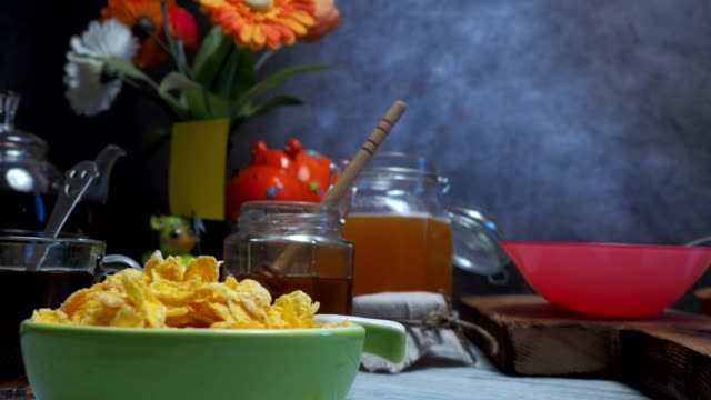 breakfast with tea and corn flakes - tea pot stock videos and b-roll footage