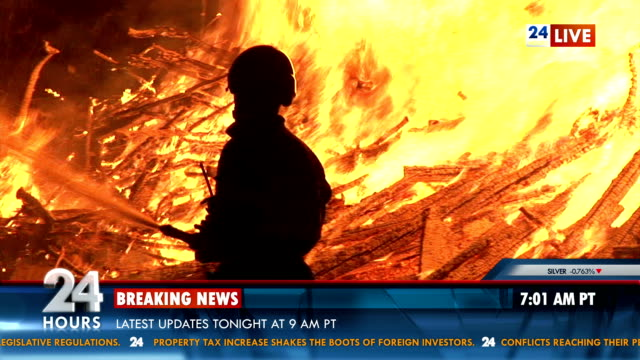 breaking news about fire outbreak - natural disaster stock videos & royalty-free footage