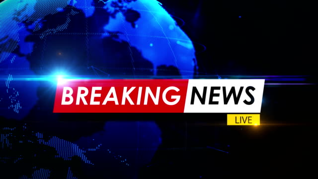 breaking news concept over spinning globe in 4k resolution - animation moving image stock videos & royalty-free footage