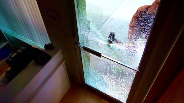 vídeos y material grabado en eventos de stock de puerta de cristal de la tienda de última hora - ladrón de casas