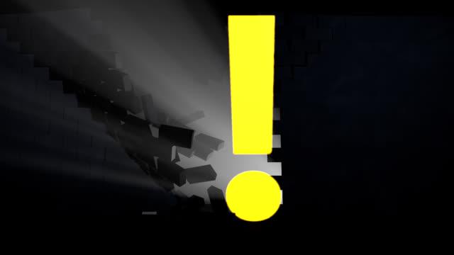 vídeos de stock e filmes b-roll de quebrar a parede - ponto de exclamação