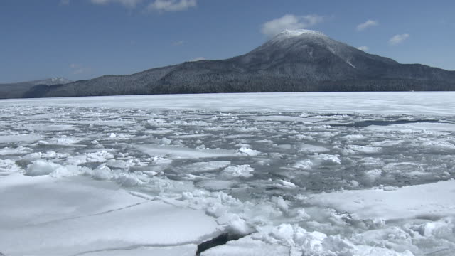 breaking up ice on lake akan, hokkaido - パン効果点の映像素材/bロール