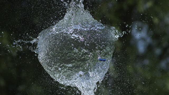 vídeos de stock e filmes b-roll de breaking water filled blue balloon, slow motion - bomba de água equipamento