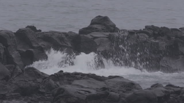 breaking waves / jeju-do, south korea - parete rocciosa video stock e b–roll
