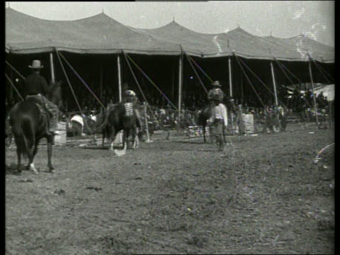 b/w breaking wild horsesbuffalo bill's wild west show / 1910's / no sound - wild west stock videos & royalty-free footage