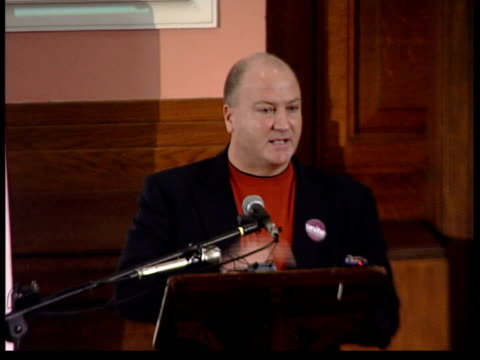 rmt breaks links with labour party itn london bob crow speaking at podium - itv late evening bulletin stock videos and b-roll footage