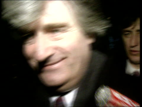 breakthrough in bosnia peace talks; switzerland geneva radovan karadzic coming down escalators at peace talks track back cms radovan karadzic intwd... - radovan karadzic stock videos & royalty-free footage