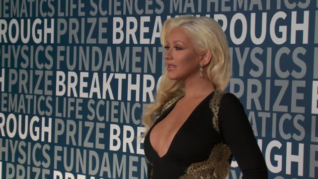 breakthrough prize ceremony on november 08 2015 in mountain view california - christina aguilera stock videos & royalty-free footage