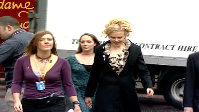 nicole kidman launches campaign england london madame tussauds ext actress nicole kidman wearing black coat over white dress with white/black ruffle... - nicole kidman stock videos & royalty-free footage