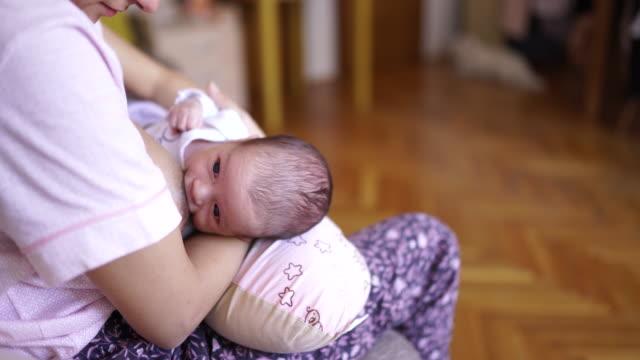 stillen kleine hungrige neugeborene junge - brustwarze stock-videos und b-roll-filmmaterial