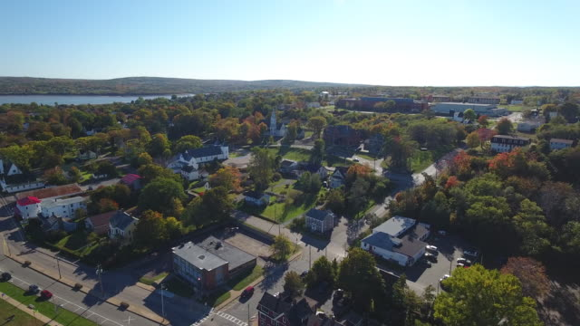 a breathtaking aerial view of digby, nova scotia, canada. - nova scotia stock videos & royalty-free footage