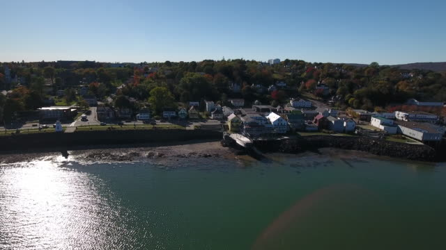 a breathtaking aerial view of digby, nova scotia, canada. - village stock videos & royalty-free footage