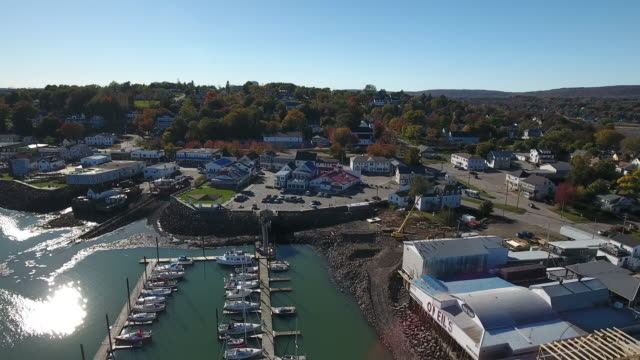 a breathtaking aerial view of digby, nova scotia, canada. - nova scotia stock videos and b-roll footage
