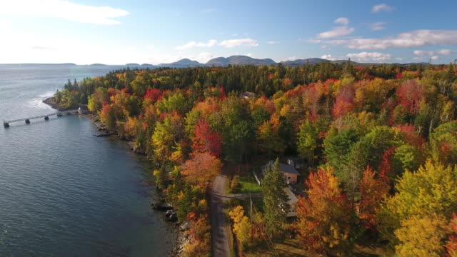a breathtaking aerial view of small town america in hancock, maine, usa - new england usa stock videos & royalty-free footage
