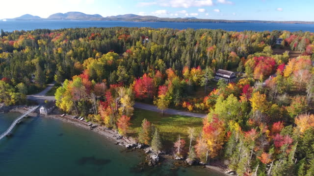 a breathtaking aerial view of small town america in hancock, maine, usa - maine stock videos & royalty-free footage