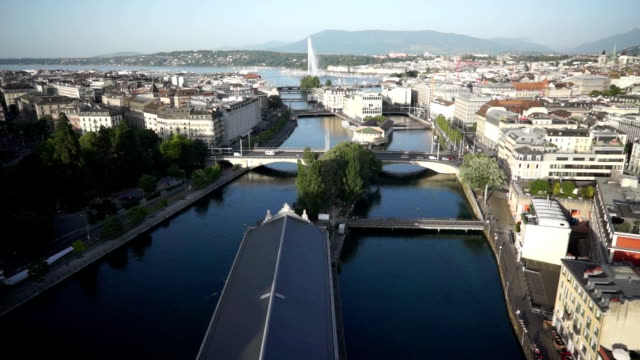breathtaking city view from the sky of geneva, switzerland - rhone river stock videos & royalty-free footage